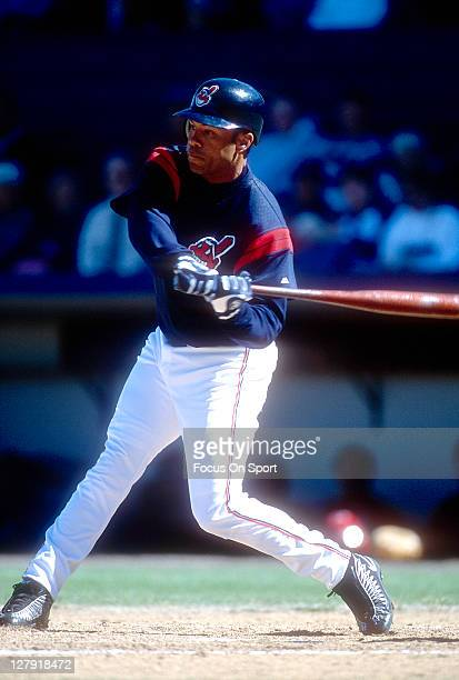 Roberto Alomar of the Cleveland Indians bats during an Major League Baseball game circa 1999 Alomar played for the Indians from 19992001