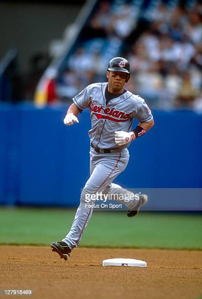 Roberto Alomar of the Cleveland Indians runs the bases against the New York Yankees during an Major League Baseball game circa 1999 at Yankee Stadium...