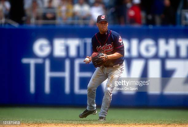 Roberto Alomar of the Cleveland Indians sets to make a throw to first against the New York Yankees during an Major League Baseball game circa 1999 at...