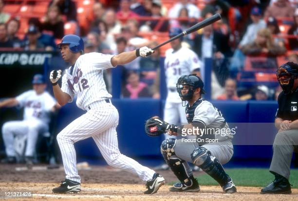 Roberto Alomar of the New York Mets bats against the New York Yankees during an Major League Baseball game circa 2002 at Shea Stadium in the Queens...