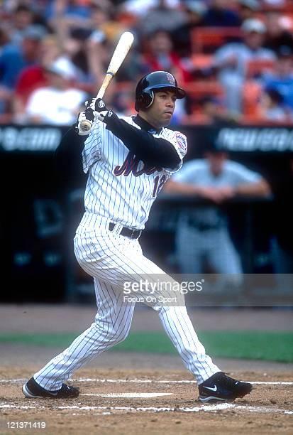 Roberto Alomar of the New York Mets bats during an Major League Baseball game circa 2002 at Shea Stadium in the Queens borough of New York City...
