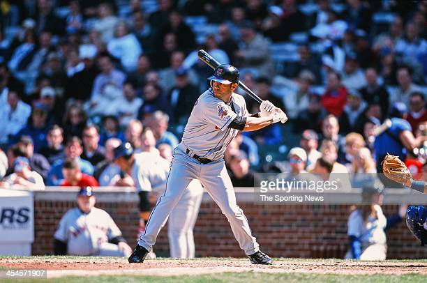 Roberto Alomar of the New York Mets during game against the Chicago Cubs on April 10 2002 at Wrigley Field in Chicago Illinois