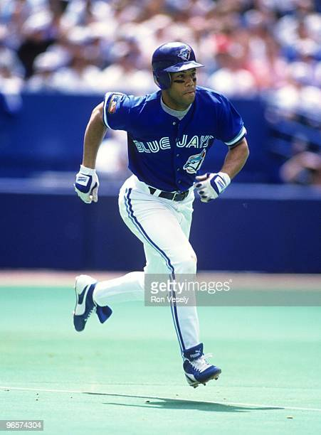 Roberto Alomar of the Toronto Blue Jays bats against the Kansas City Royals at Skydome in Toronto Ontario on July 10 1994 Alomar played for the Blue...