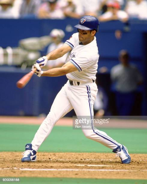 Roberto Alomar of the Toronto Blue Jays bats during an MLB game at Skydome in Toronto Ontario Canada during the 1994 season