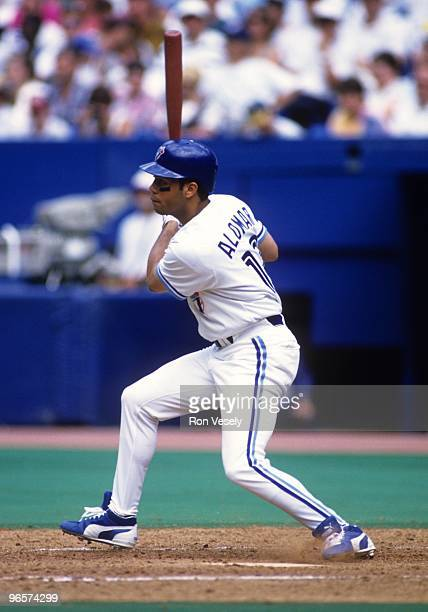 Roberto Alomar of the Toronto Blue Jays bats during an MLB game at Skydome in Toronto Ontario Alomar played for the Blue Jays from 19911995