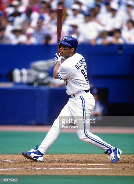 TORONTO 1994 Roberto Alomar of the Toronto Blue Jays bats during an MLB game at Skydome in Toronto Ontario Alomar played for the Blue Jays from...