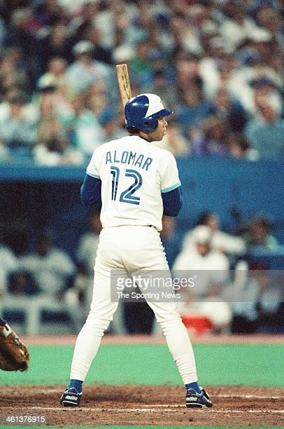 Roberto Alomar of the Toronto Blue Jays bats during the 1991 American League Championship Series against the Minnesota Twins at Hubert H Humphrey...