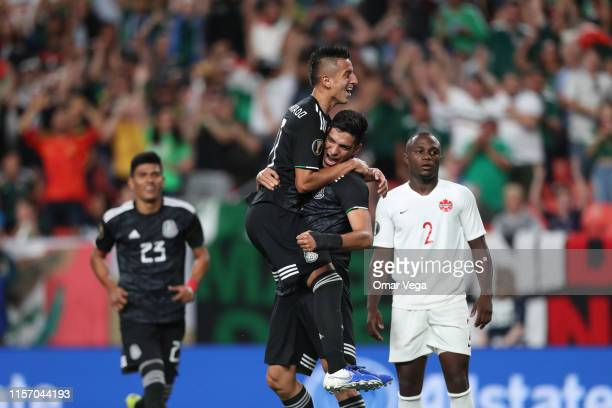 Roberto Alvarado and Raul Jimenez of Mexico celebrates his first score during the Group A match between Mexico and Canada as part of the 2019...