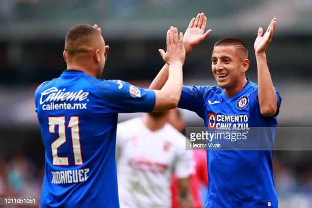 Roberto Alvarado of Cruz Azul celebrates after scoring the third goal of his team during the 9th round match between Cruz Azul and Tijuana as part of...