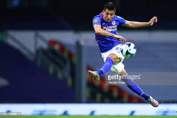 Roberto Alvarado of Cruz Azul scores the second goal of his team during the 7th round match between Cruz Azul and Toluca as part of the Torneo...