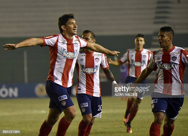 Roberto Andres Ovelar of Colombia's Junior celebrates after scoring against Blooming of Bolivia during their Copa Sudamericana 2016 football match at...