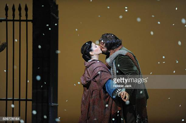 Roberto Aronica and Cristina GallardoDomas perform in the Royal Opera's production of Giacomo Puccini's opera La Boheme conducted by Cristian Badea...