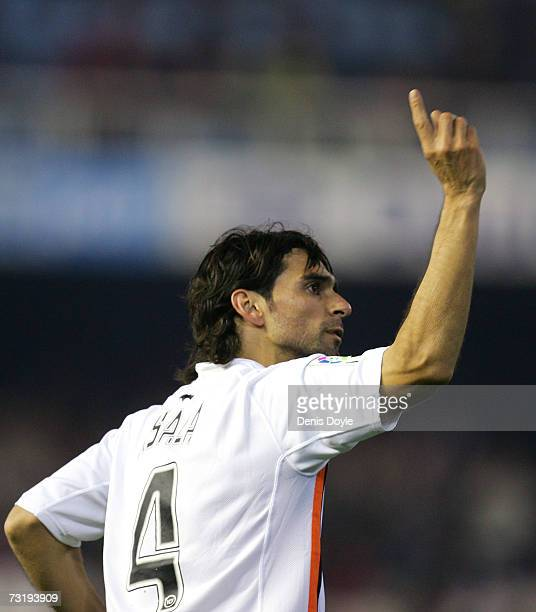 Roberto Ayala of Valencia celebrates after scoring the first goal during the La Liga match between Valencia and Atletico Madrid at the Mestalla...