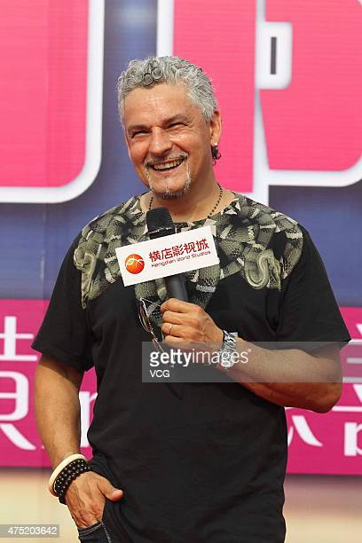 Roberto Baggio a retired Italian footballer visits Hengdian World Studios on May 29 2015 in Jinhua Zhejiang province of China