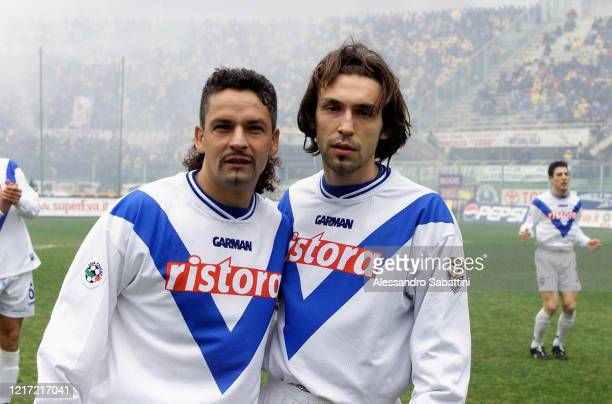 Roberto Baggio and Andrea Pirlo of Brescia Calcio pose for photo during the Serie A match between ACF Fiorentina and Brescia Calcio at Stadio Artemio...