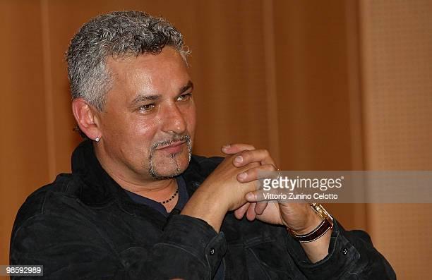Roberto Baggio attends 'Attaccante Nato' Book Launch held at Sala Buzzati on April 21 2010 in Milan Italy
