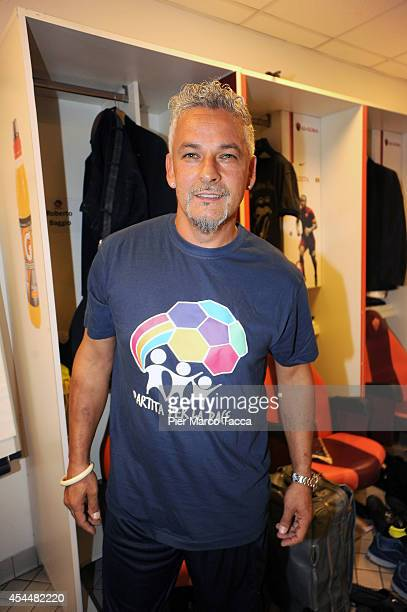 Roberto Baggio attends in the locker room of players before of the Interreligious Match For Peace at Olimpico Stadium on September 1 2014 in Rome...