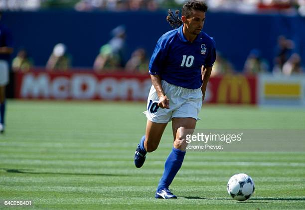 Roberto Baggio in action during a first round match of the 1994 FIFA World Cup against Norway. Italy won 1-0.
