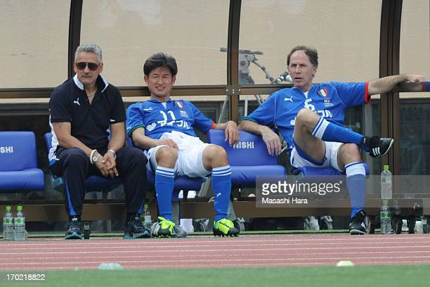 Roberto Baggio Kazuyoshi Miura and Franco Baresi look on during the JLeague Legend and Glorie Azzurre match at the National Stadium on June 9 2013 in...