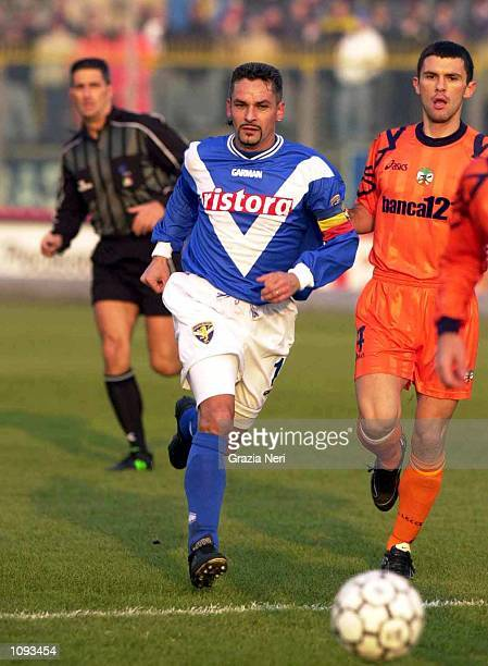 Roberto Baggio of Brescia in action during a SERIE A 12th Round League match between Brescia and Lecce, played at the Mario Rigamonti Stadium,...