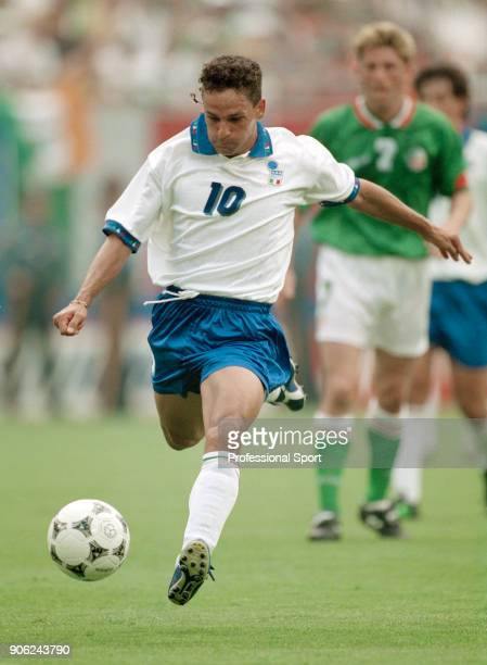 Roberto Baggio of Italy in action against the Republic of Ireland during a FIFA World Cup Group E match at Giants Stadium in East Rutherford New...