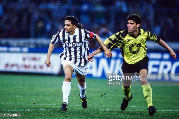 Roberto BAGGIO of Juventus and Ned ZELIC of Borussia Dortmund during the UEFA Cup Final second leg match between Juventus Turin and Borussia Dortmund...