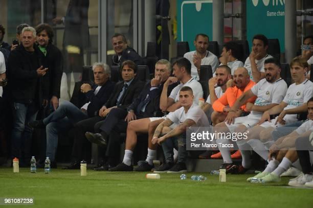 Roberto Baggio Roberto Doadoni Antonio Conte and Carlo Ancelotti look during Andrea Pirlo Farewell Match at Stadio Giuseppe Meazza on May 21 2018 in...