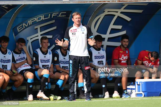 Roberto Baronio manager of SSC Napoli U19 gestures during the Serie A Primavera match between Empoli U19 v Naopli U19 on September 22 2018 in Empoli...