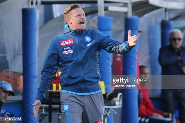 Roberto Baronio manager of SSC Napoli U19 gestures during the Serie A Primavera match between Empoli U19 and Napoli U19 on October 7 2019 in Empoli...