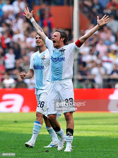 Roberto Baronio of SS Lazio celebrates victory after the Serie A match between Genoa CFC and SS Lazio at Stadio Luigi Ferraris on April 25, 2010 in...