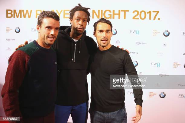 Roberto Bautista Agut Gael Monfils and Fabio Fognini arrive at the Players Night of the 102 BMW Open by FWU at Iphitos tennis club on April 30 2017...