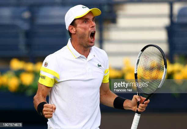 Roberto Bautista Agut of Spain celebrates during the Men's Single's Round of 16 match between Jannik Sinner and Roberto Bautista Agut on Day Eleven...