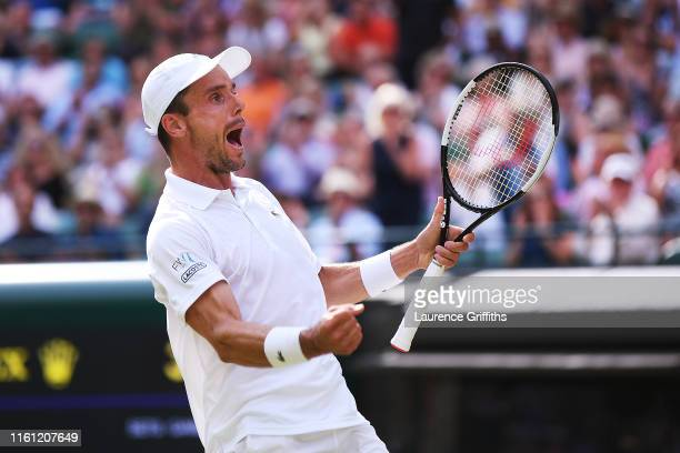 Roberto Bautista Agut of Spain celebrates match point in his Men's Quarter Final match against Guido Pella of Argentina during Day Nine of The...