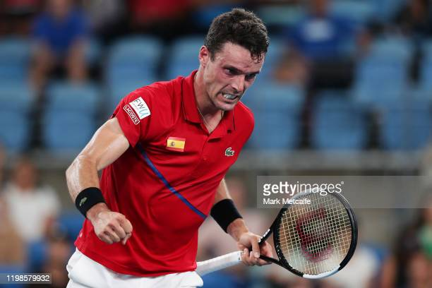 Roberto Bautista Agut of Spain celebrates winning a point during his quarter final singles match against Kimmer Coppejans of Belgium during day eight...