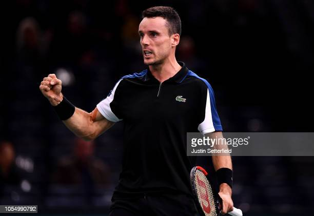 Roberto Bautista Agut of Spain celebrates winning against Steve Johnson of United States during Day 1 of the Rolex Paris Masters on October 29 2018...