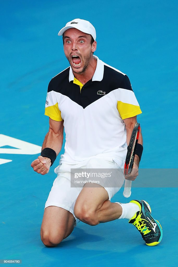 Roberto Bautista Agut of Spain celebrates winning his semi final match against Robin Haase of the Netherlands during day five of the 2018 ASB Men's Classic at the ASB Tennis Centre on January 12, 2018 in Auckland, New Zealand.