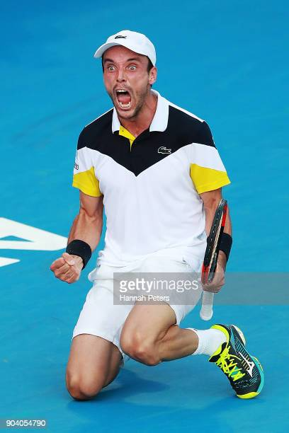 Roberto Bautista Agut of Spain celebrates winning his semi final match against Robin Haase of the Netherlands during day five of the 2018 ASB Men's...