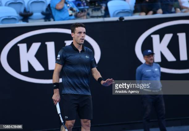 Roberto Bautista Agut of Spain gestures competing against Marin Cilic of Croatia during Australian Open 2019 Men's Singles match in Melbourne...