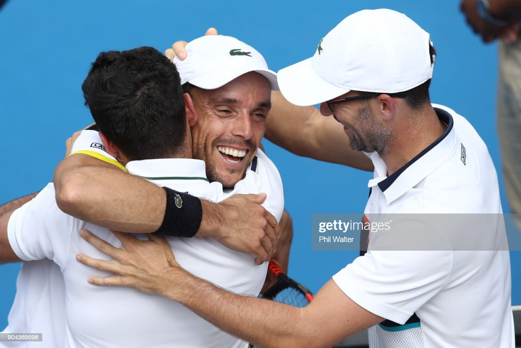 Roberto Bautista Agut of Spain hugs his team following his Mens Singles Final win over Juan Martin Del Potro of Argentina during day six of the ASB Men's Classic at ASB Tennis Centre on January 13, 2018 in Auckland, New Zealand.