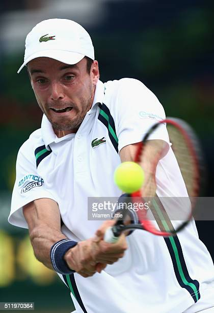 Roberto Bautista Agut of Spain in action against Hyeong Chung of Korea during day five of the ATP Dubai Duty Free Tennis Championship at the Dubai...