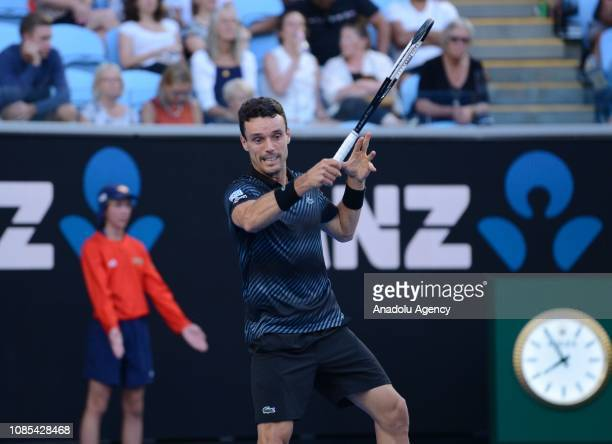 Roberto Bautista Agut of Spain in action against Marin Cilic of Croatia during Australian Open 2019 Men's Singles match in Melbourne Australia on...