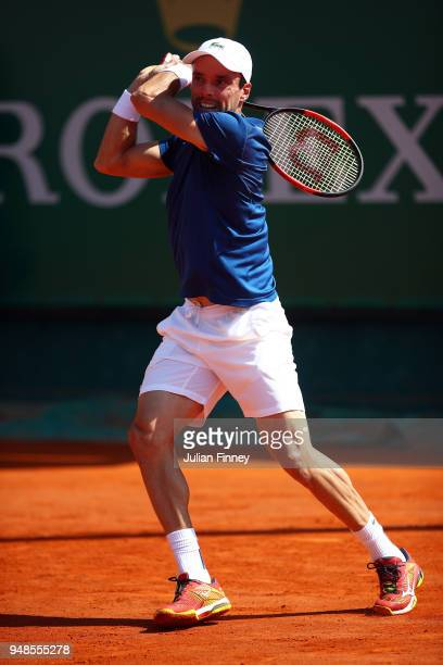 Roberto Bautista Agut of Spain in action during his men's singles match against David Goffin of Belgium on day five of the Rolex MonteCarlo Masters...