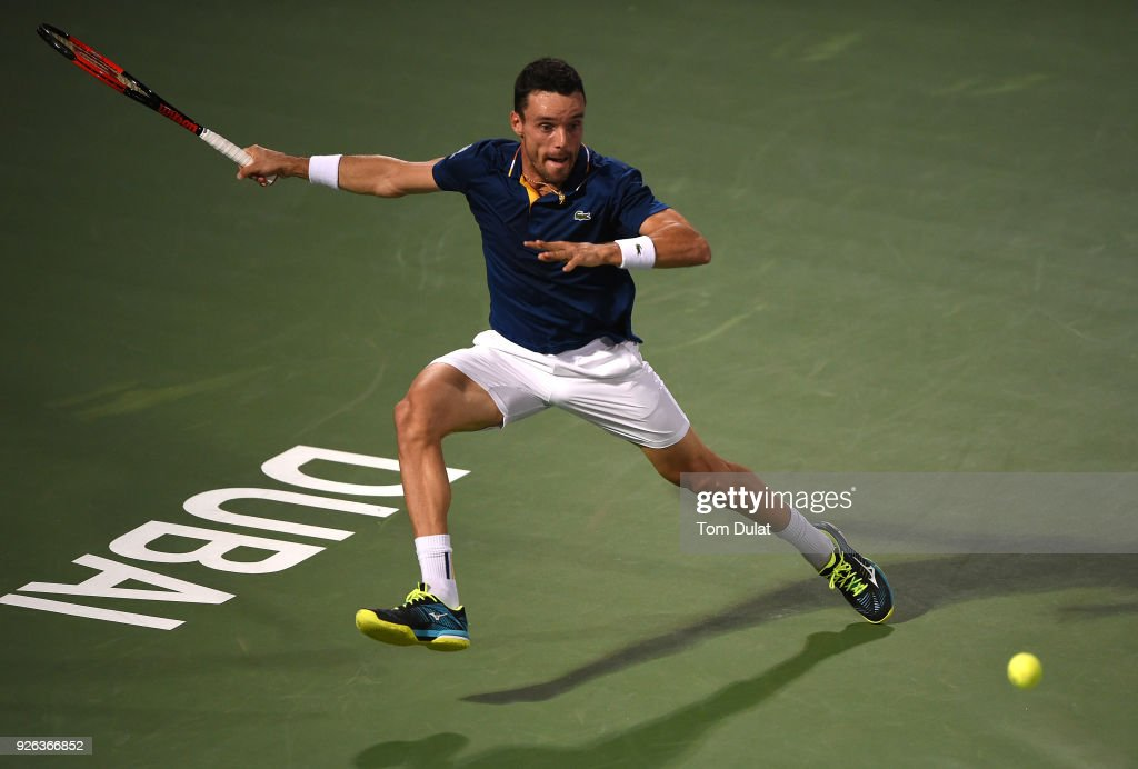 Roberto Bautista Agut of Spain in action during his semi final match against Malek Jaziri of Tunisia on day five of the ATP Dubai Duty Free Tennis Championships at the Dubai Duty Free Stadium on March 2, 2018 in Dubai, United Arab Emirates