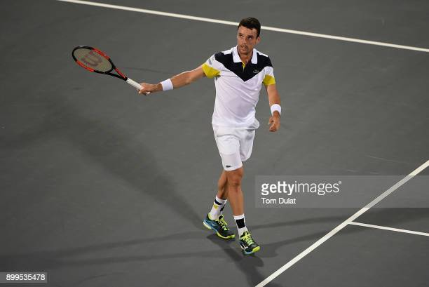Roberto Bautista Agut of Spain looks on after winning exhibition match against Andy Murray of Great Britain on day two of the Mubadala World Tennis...