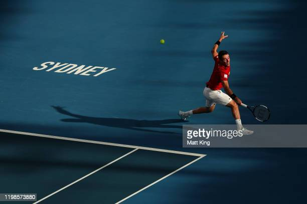 Roberto Bautista Agut of Spain plays a backhand during his quarter final singles match against Kimmer Coppejans of Belgium during day eight of the...