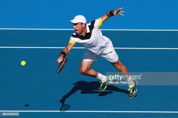 Roberto Bautista Agut of Spain plays a backhand during his semi final match against Robin Haase of the Netherlands during day five of the 2018 ASB...