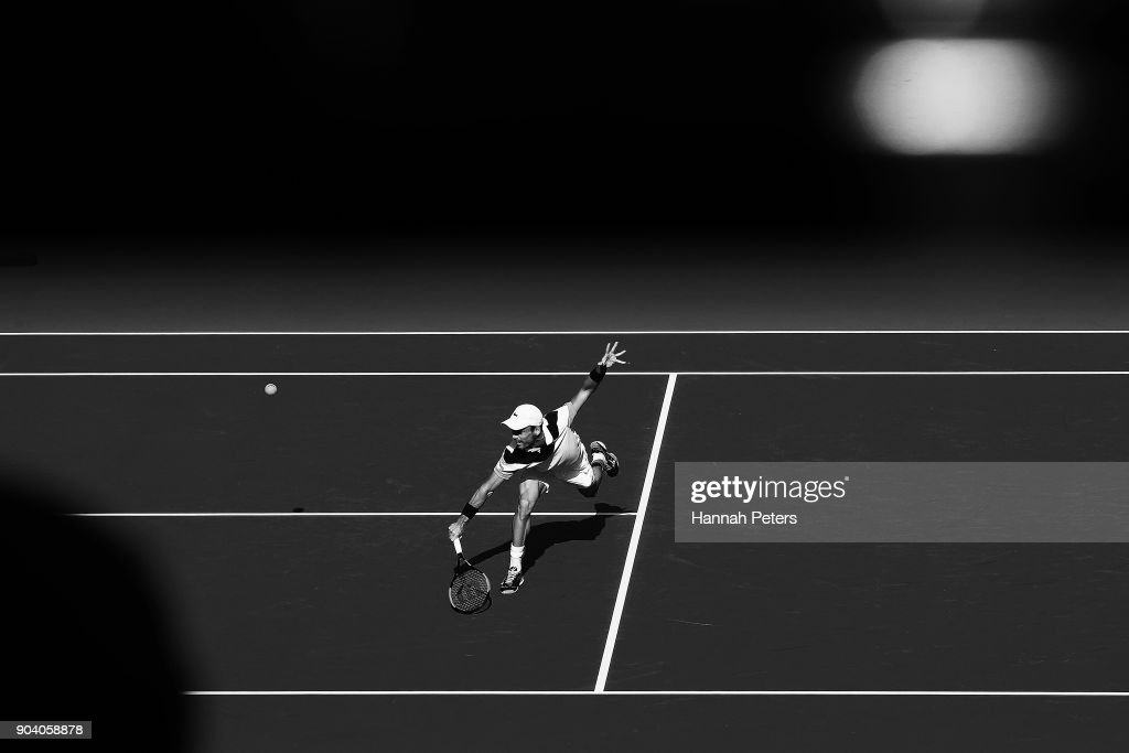 Roberto Bautista Agut of Spain plays a backhand during his semi final match against Robin Haase of the Netherlands during day five of the 2018 ASB Men's Classic at the ASB Tennis Centre on January 12, 2018 in Auckland, New Zealand.