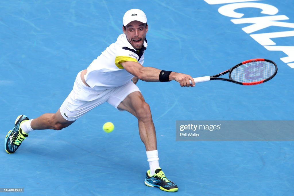 Roberto Bautista Agut of Spain plays a backhand in his Mens Singles Final match against Juan Martin Del Potro of Argentina during day six of the ASB Men's Classic at ASB Tennis Centre on January 13, 2018 in Auckland, New Zealand.