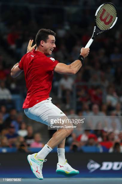 Roberto Bautista Agut of Spain plays a forehand during his final singles match against Dusan Lajovic of Serbia on day 10 of the ATP Cup at Ken...