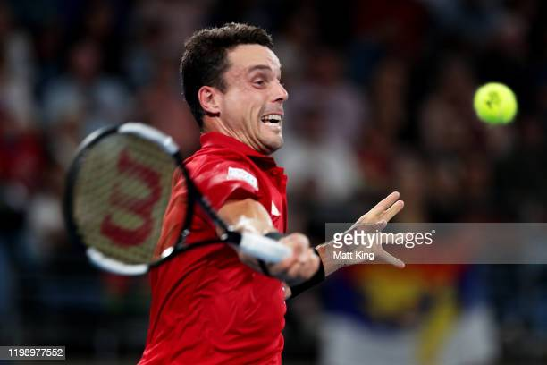 Roberto Bautista Agut of Spain plays a forehand during his final singles match against Dusan Lajovic of Serbia during day 10 of the ATP Cup at Ken...